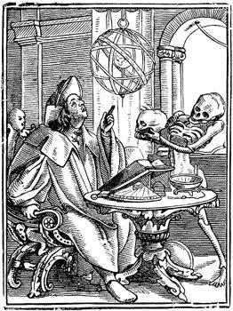 Gravure ancienne représentant un astrologue calculant un thème astral